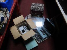 Olivetti Typewriter, Rank Hylite slide projector, mirror 60cm diameter, stool. (4)