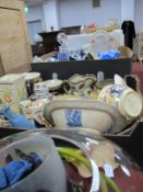 Glassware, ceramics (damages) Two Boxes, large glass bowl, light shade.