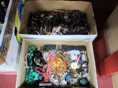 Ladies Costume Jewellery, beads, bracelets, bangles, etc:- Two Boxes