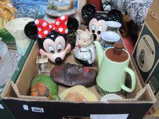 Bossons Wall Masks, Carlton Ware coffee pot and sugar bowl, Mickey Mouse wall plaques, ginger jar,