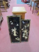 Pine Pedestal 73cm high, two lacquered Oriental panels. (3)