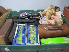 Sindy and Other Dolls, Subbuteo (with faults), lawn green bowls, etc:- One Box