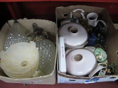 Ceiling Lights, Poole two tone dinner ware, Hornsea, etc:- Two Boxes.