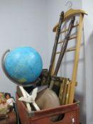 Globe Lamp by Rico, mirror, prints, warming pans, valet, darts, etc:- One Box