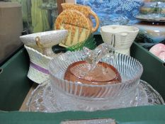 Beswick '545' Vase and '125' Jug, Falcon posy hat, glass dish having cat handle, other glassware,