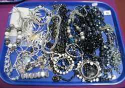 A Selection of Modern Costume Jewellery, including large bead necklaces, diamante bracelets,