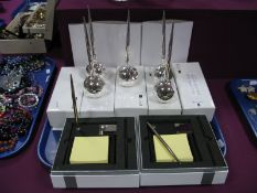 Novelty Football Desk Paperweights/Pen Holder, boxed; two post it note holders/pens:- One Tray