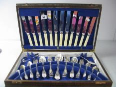 """A Viner's Six Setting Canteen of Cutlery, knife blades stamped """"Viners Ltd Sheffield Made"""