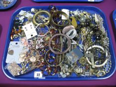 A Mixed Lot of Assorted Gilt Coloured and Other Modern Costume Jewellery, including bangles,