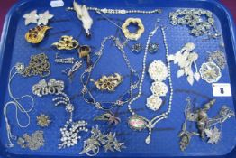 A Mixed Lot of Assorted Vintage and Later Costume Jewellery, including diamanté, marcasite, claw