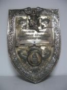 """A Large Plated Shield Shape Trophy Plaque, """"Annual Trophy Birmingham Saturday Federation of Flying"""