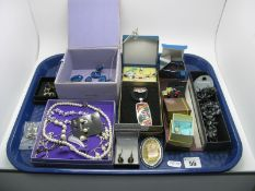 A Small Selection of Costume Jewellery, including imitation pearl bead necklace, panel style