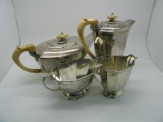 A Matched Hallmarked Silver Four Piece Tea Set, Frank Cobb & Co., Sheffield 1936, 1937, of Art
