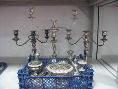 Plated Candelabra, posy bowls, Modernist style candlestick, etc.
