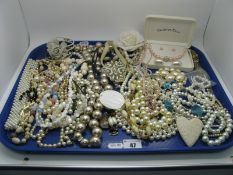 A Selection of Imitation Pearl Bead and Other Costume Jewellery, including necklaces, bracelets,