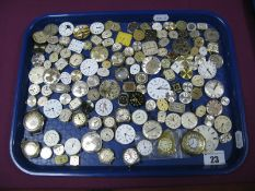 A Collection of Assorted Ladies and Gent's Wristwatch Dials/Movements, pocket watch dial etc (