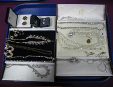 A Collection of Ornate Diamanté Costume Jewellery, including necklace and earrings and a faceted