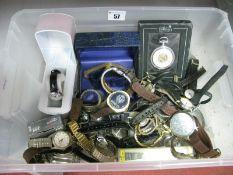 "Assorted Wristwatches, including vintage ""Negresco"" plastic cased watch, watch bracelets/straps"