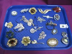 Assorted Costume Brooches, including Corocraft, Miracle, Sarah Coventry, Exquisite, Sphinx, etc:-