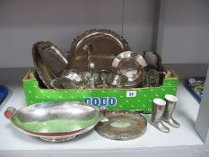 Assorted Plated Ware, including plated trays, dishes, egg cups, XIX Century oval teapot/bottle