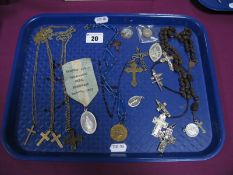 "Religious Interest - Rosary beads, crosses, crucifixes, St Christopher pendants, a souvenir """