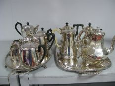 Assorted Plated Tea Wares, including c.Late XIX Century Martin Hall & Co plated tea pot, of tapering