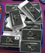 Eleven Modern Boxed Vicci Gift Golfing Key Ring and Pen Sets:- One Tray