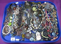 A Selection of Modern Ethnic Style Costume Jewellery, including large bead necklace, bracelets,