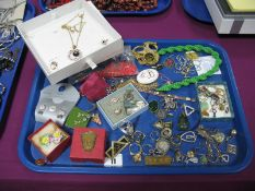 Assorted Costume Jewellery, including rings, pendants, chains, earrings, etc:- One Tray