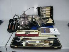 Assorted Plated Ware, including three piece meat carving sets, boxed knives, fish servers, tea pots,