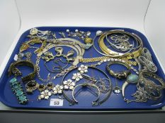 Assorted Costume Jewellery, including diamante and other bangles, earrings, bracelets etc:- One