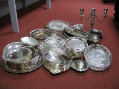 A Mixed Lot of Assorted Plated Ware, including c.VXIII/XIX Century plated on copper card tray/
