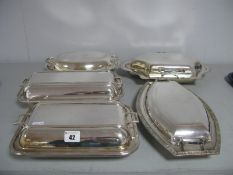 Five Assorted Plated Entree Dishes, including James Dixon, VLd, LR.S EPNS, FC&Co, etc. (5)