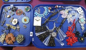 Assorted Costume Brooches, leather flower brooches, modern flower necklaces, bracelet, etc:- Two