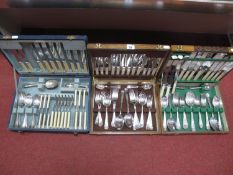 A Vintage Part Canteen of Plated Cutlery, (incomplete); together with a six setting wooden cased set