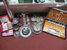 A Decorative Plated Lidded Dish, of shell shape, with frosted glass liner, condiment/cruet stands,