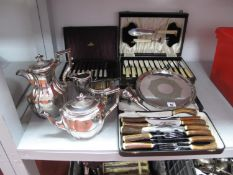 A T.W.E.&Co Plated Four Piece Tea Set, each of shaped design, semi reeded, a plated salver, wine