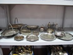 Assorted Plated Ware, including circular salvers, teapot stand (lacking one foot) swing handled
