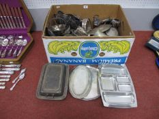 A Mixed Lot of Assorted Plated Ware, including dishes, mugs, sugar scuttle, rectangular lidded