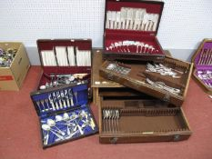 A Large Wooden Two Drawer Part Fitted Canteen of Cutlery, together with two further part fitted