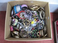 A Quantity of Assorted Costume Jewellery, including gilt bangles, bead necklaces, bracelets,