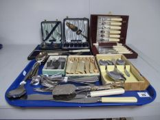 Assorted Plated Cutlery, including fish knives, forks and servers, boxed and cased spoons, pastry