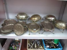 Six Assorted Plated Roll Top Breakfast Servers, (some incomplete); together with collection of