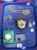 A Modern Hunter Cased Pocketwatch, needlepoint trinket pot, enamel articulated fish pendant,