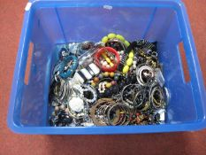 A Large Mixed Lot of Assorted Costume Jewellery, including beads, bangles, etc:- One Box