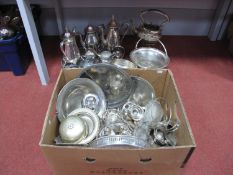 Assorted Plated Tea Wares, trays, kettle on stand (damages), swing handled dishes, further dishes,