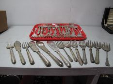 A Collection of Assorted Plated Fish Serving Forks, two pairs of fish servers, etc.
