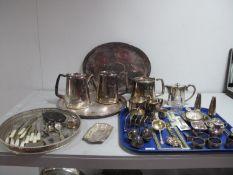 Hotel Ware Plated Tea Set, plated cruet items, five bar toast rack, wine tasters, souvenir