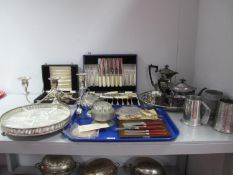 A Mixed Lot of Assorted Plated Ware, including four piece tea set, pewter mugs, twin branch dwarf