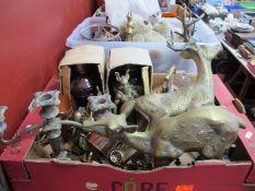 Brass Stags, replica ship's lanterns, plated candelabra, brassware etc:- One Box